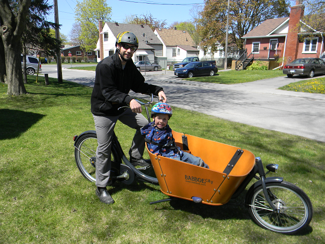 Eric Cardinal, his son Gage and their Babboe City bike
