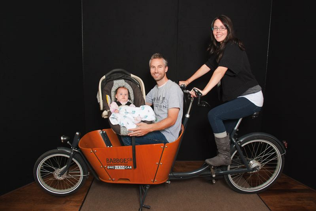 Eric Cardinal and Lindsay Howell with their Babboe City bike