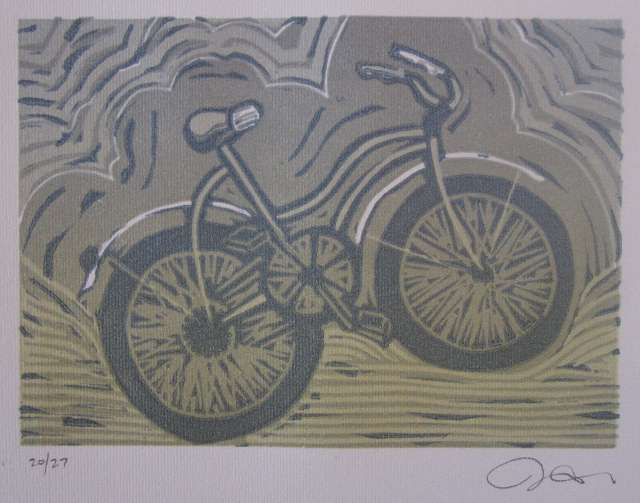 Bicycle themed print by Jeffrey Macklin of Jackson Creek Press