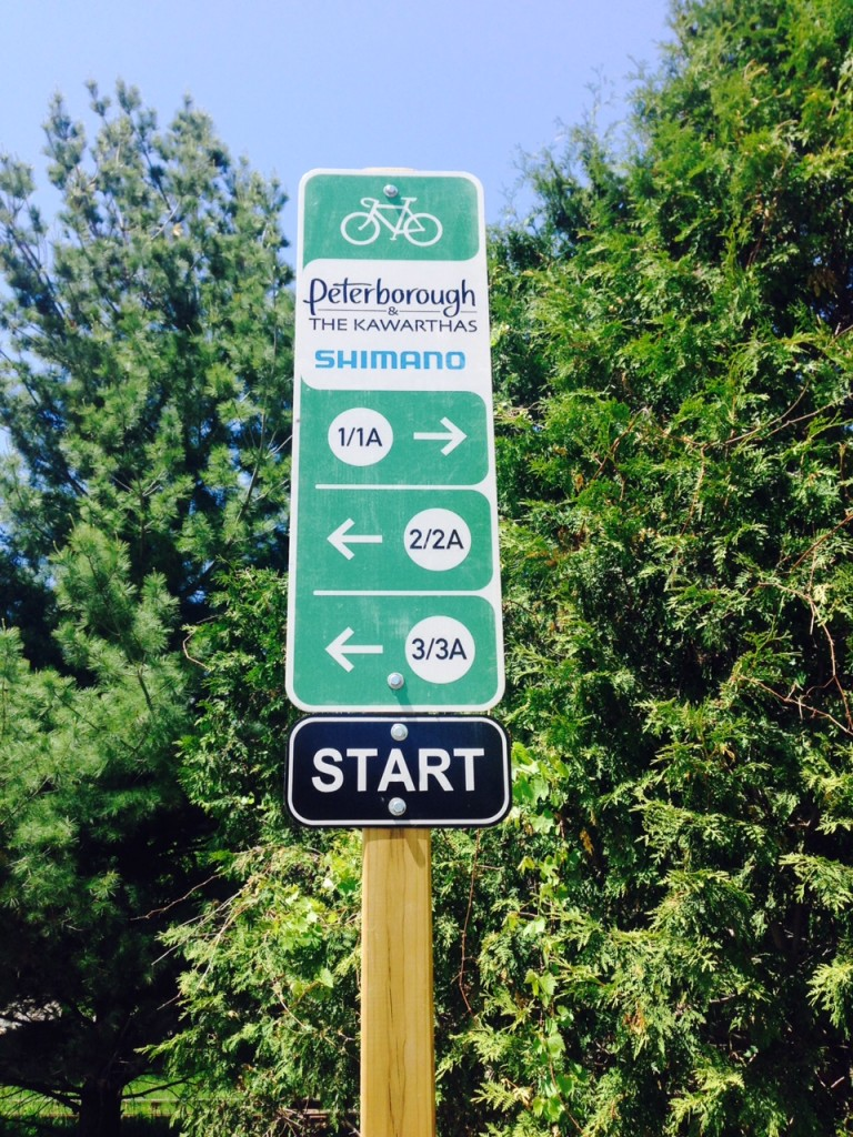 Signage for the Peterborough & the Kawarthas Classics cycling routes