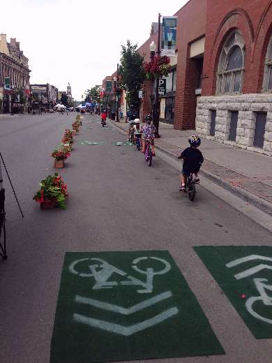 Kids riding pop-up bike lanes at Pulse 2016