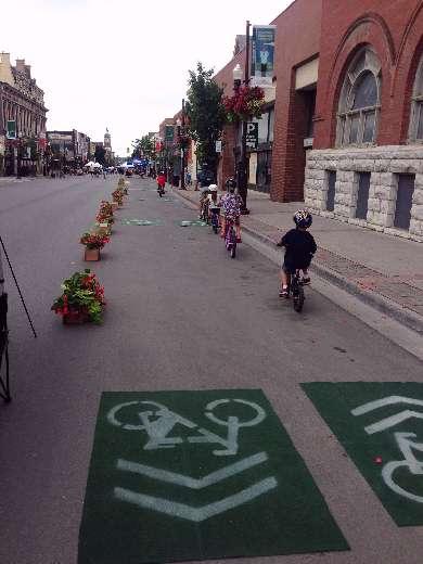 Kids riding pop-up bike lanes at Pulse 2016
