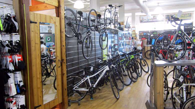 The Hybrid Bike Wall at Wild Rock Outfitters